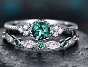 Couples  Ring Set 925 Silver Green Emerald